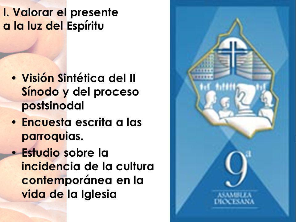I. Valorar el presente a la luz del Espíritu Visión Sintética del II Sínodo y del proceso postsinodal Encuesta escrita a las parroquias. Estudio sobre