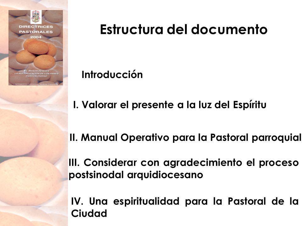 Estructura del documento Introducción I. Valorar el presente a la luz del Espíritu II. Manual Operativo para la Pastoral parroquial III. Considerar co