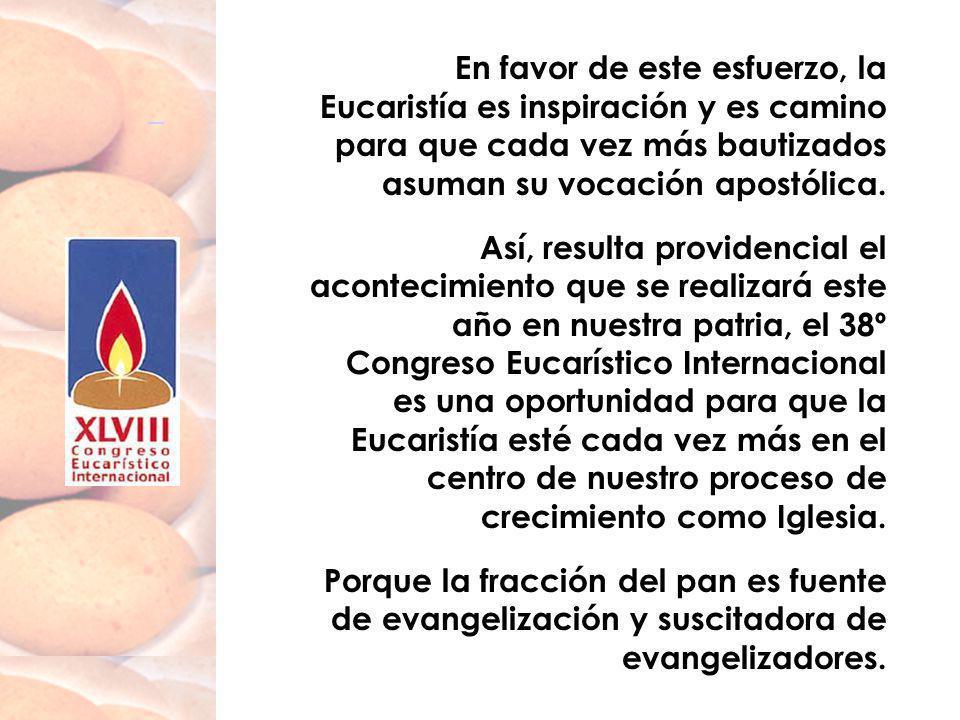 En favor de este esfuerzo, la Eucaristía es inspiración y es camino para que cada vez más bautizados asuman su vocación apostólica. Así, resulta provi