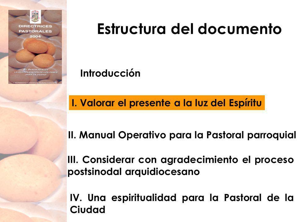 Estructura del documento Introducción I. Valorar el presente a la luz del Espíritu II. Manual Operativo para la Pastoral parroquial IV. Una espiritual