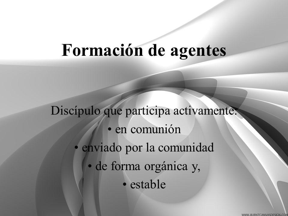 Formación de agentes Discípulo que participa activamente: en comunión enviado por la comunidad de forma orgánica y, estable