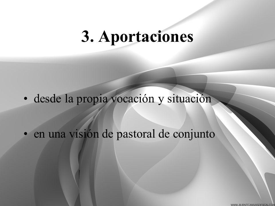 3. Aportaciones desde la propia vocación y situación en una visión de pastoral de conjunto