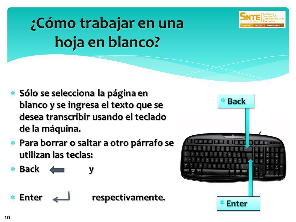 Sólo se selecciona la página en blanco y se ingresa el texto que se desea transcribir usando el teclado de la máquina.