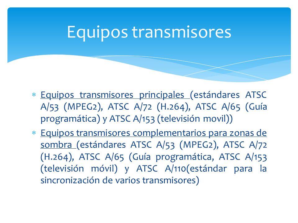 Equipos transmisores principales (estándares ATSC A/53 (MPEG2), ATSC A/72 (H.264), ATSC A/65 (Guía programática) y ATSC A/153 (televisión movil)) Equi