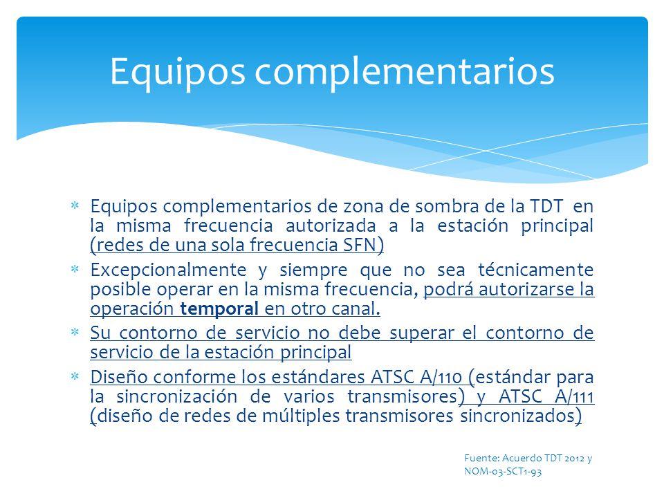 Equipos complementarios de zona de sombra de la TDT en la misma frecuencia autorizada a la estación principal (redes de una sola frecuencia SFN) Excep