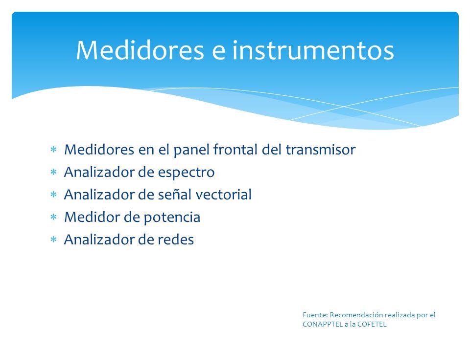 Medidores en el panel frontal del transmisor Analizador de espectro Analizador de señal vectorial Medidor de potencia Analizador de redes Medidores e