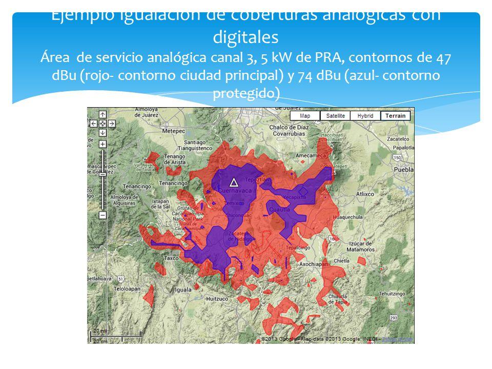 Ejemplo igualación de coberturas analógicas con digitales Área de servicio analógica canal 3, 5 kW de PRA, contornos de 47 dBu (rojo- contorno ciudad