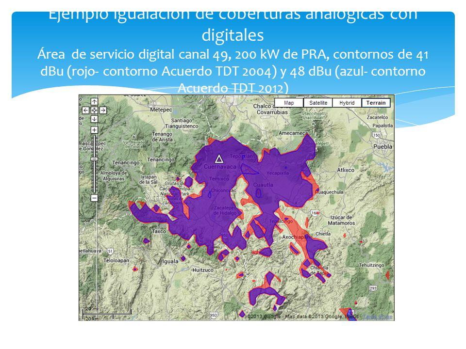 Ejemplo igualación de coberturas analógicas con digitales Área de servicio digital canal 49, 200 kW de PRA, contornos de 41 dBu (rojo- contorno Acuerd