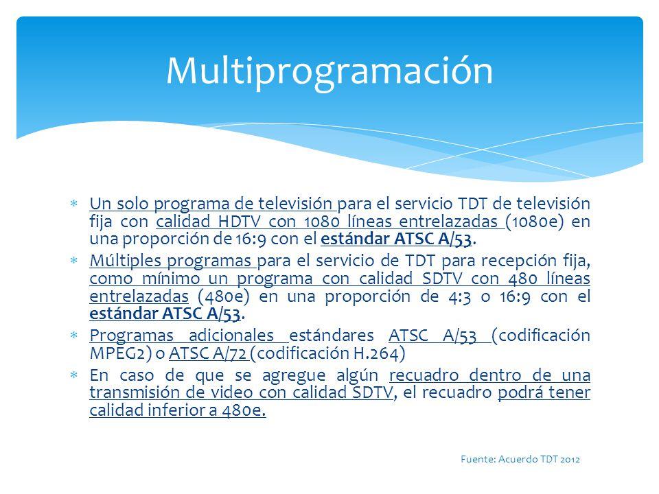 Un solo programa de televisión para el servicio TDT de televisión fija con calidad HDTV con 1080 líneas entrelazadas (1080e) en una proporción de 16:9