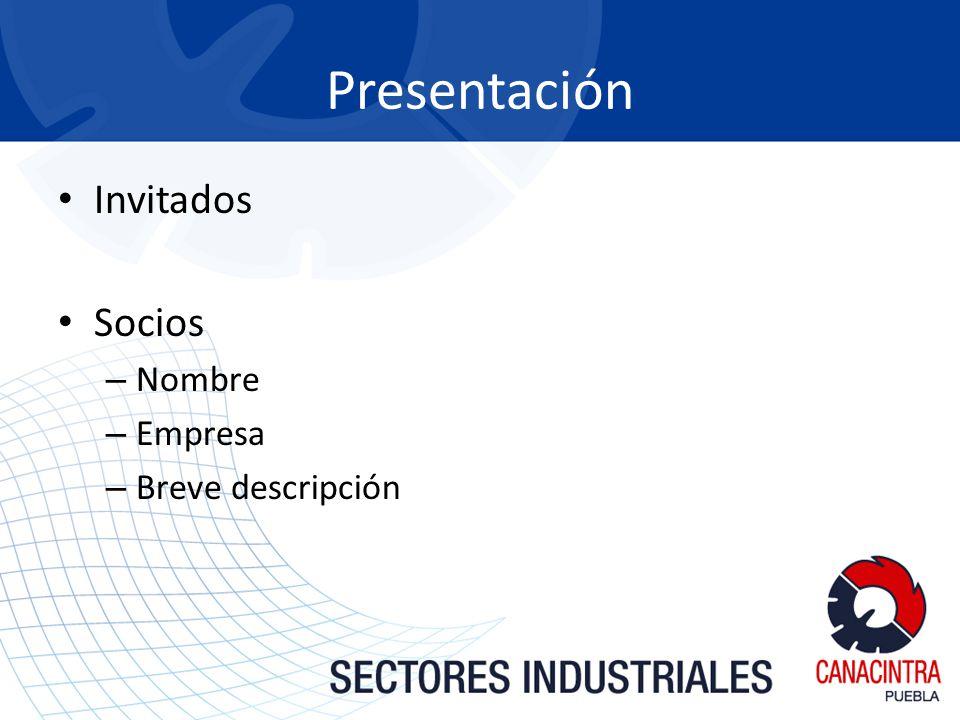 Invitados Socios – Nombre – Empresa – Breve descripción Presentación