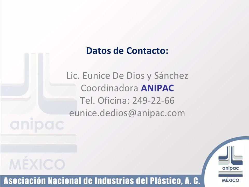 Datos de Contacto: Lic. Eunice De Dios y Sánchez Coordinadora ANIPAC Tel. Oficina: 249-22-66 eunice.dedios@anipac.com