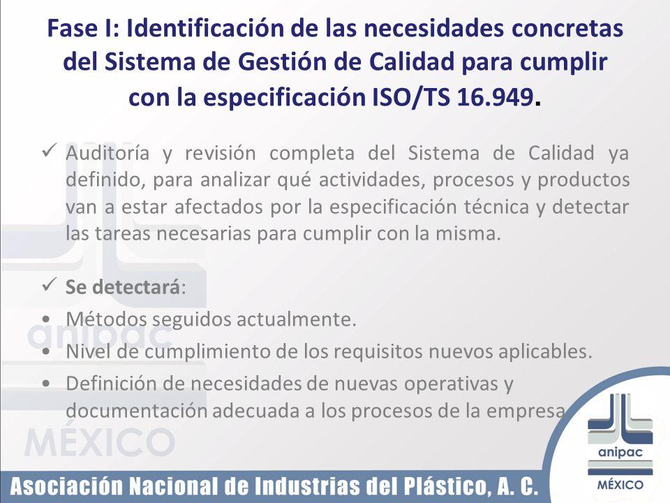 Fase I: Identificación de las necesidades concretas del Sistema de Gestión de Calidad para cumplir con la especificación ISO/TS 16.949. Auditoría y re