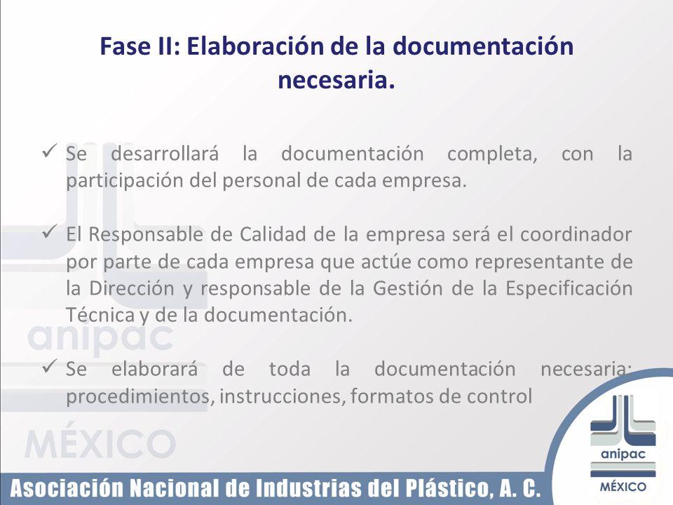 Fase II: Elaboración de la documentación necesaria. Se desarrollará la documentación completa, con la participación del personal de cada empresa. El R