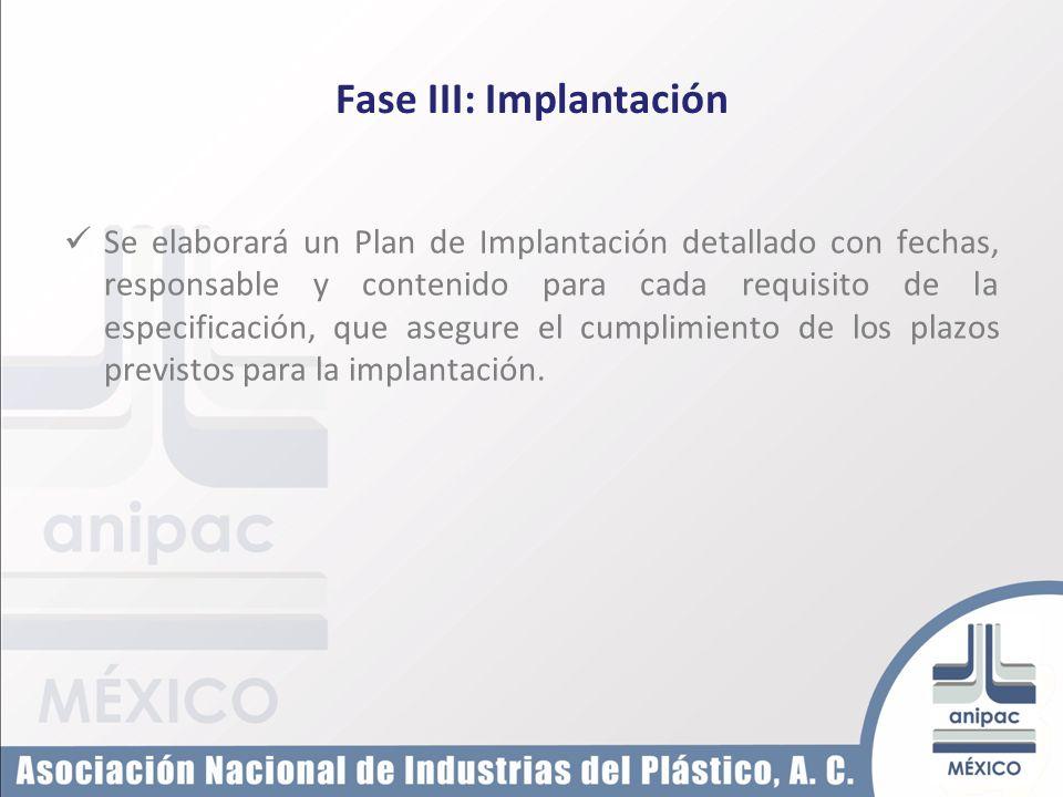 Fase III: Implantación Se elaborará un Plan de Implantación detallado con fechas, responsable y contenido para cada requisito de la especificación, qu