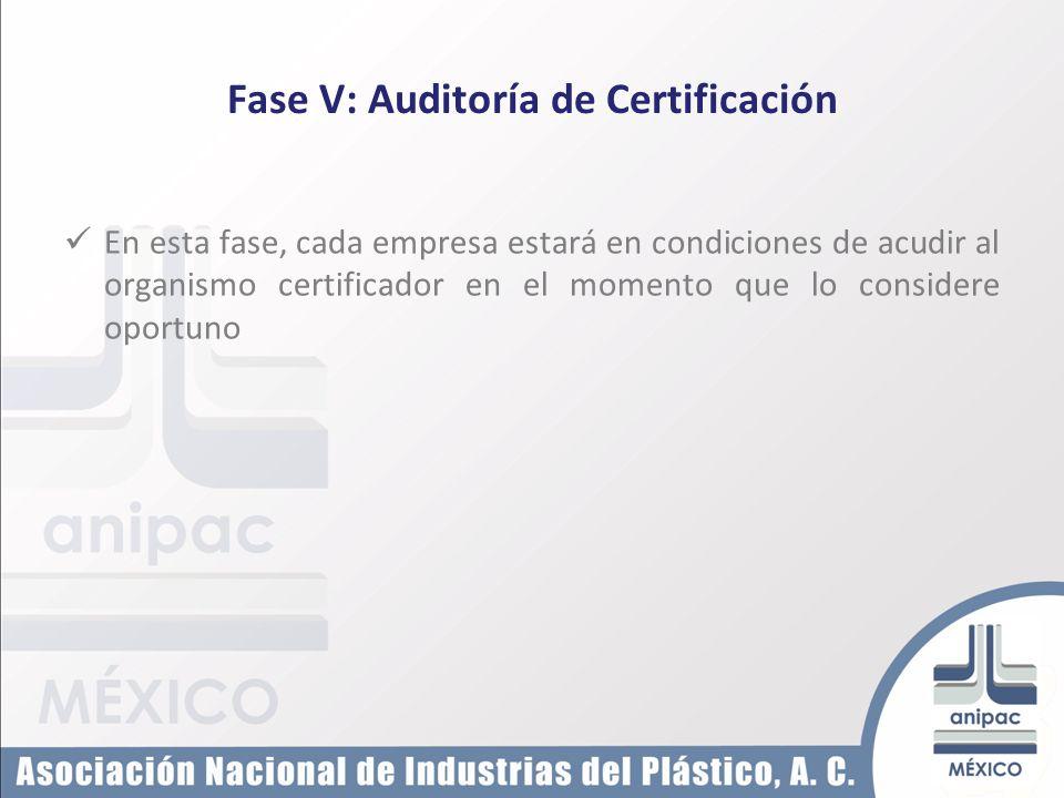Fase V: Auditoría de Certificación En esta fase, cada empresa estará en condiciones de acudir al organismo certificador en el momento que lo considere