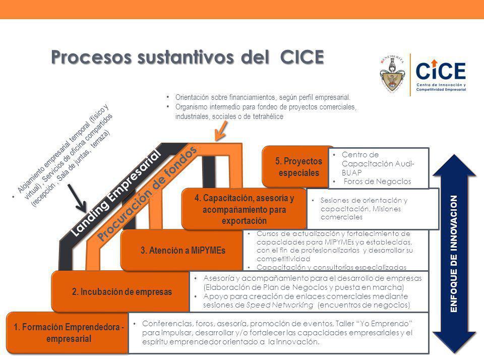 1. Formación Emprendedora - empresarial 2. Incubación de empresas 3.