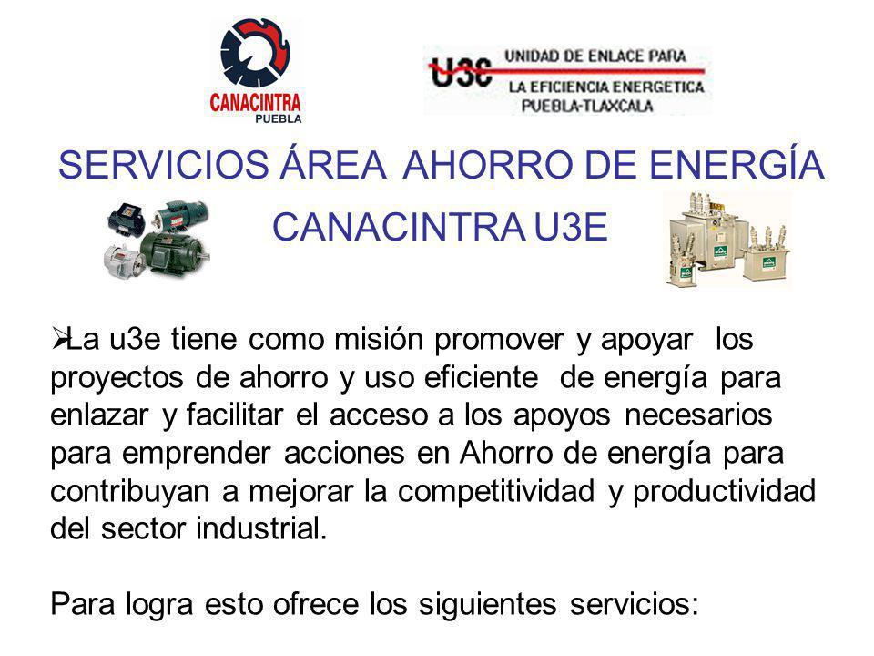 SERVICIOS ÁREA AHORRO DE ENERGÍA CANACINTRA U3E La u3e tiene como misión promover y apoyar los proyectos de ahorro y uso eficiente de energía para enlazar y facilitar el acceso a los apoyos necesarios para emprender acciones en Ahorro de energía para contribuyan a mejorar la competitividad y productividad del sector industrial.