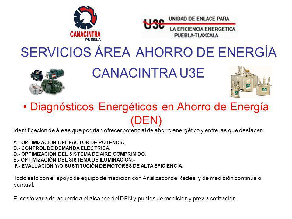 SERVICIOS ÁREA AHORRO DE ENERGÍA CANACINTRA U3E Diagnósticos Energéticos en Ahorro de Energía (DEN) Identificación de áreas que podrían ofrecer potencial de ahorro energético y entre las que destacan: A.- OPTIMIZACION DEL FACTOR DE POTENCIA.