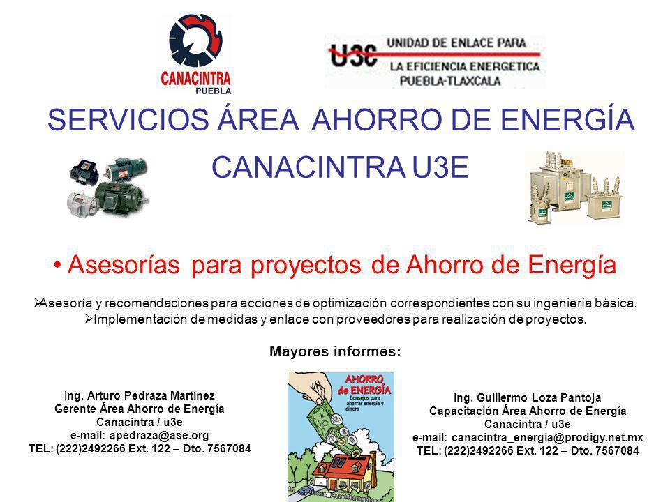 Ing. Guillermo Loza Pantoja Capacitación Área Ahorro de Energía Canacintra / u3e e-mail: canacintra_energia@prodigy.net.mx TEL: (222)2492266 Ext. 122