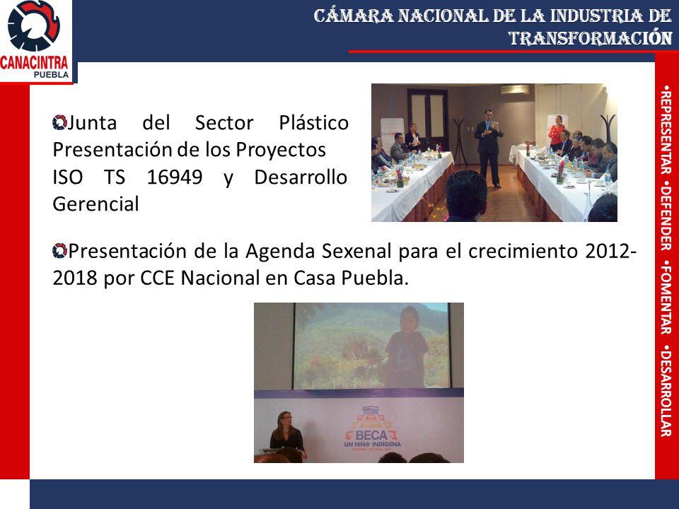 Cámara Nacional de la Industria de Transformac Cámara Nacional de la Industria de Transformación Junta del Sector Plástico Presentación de los Proyectos ISO TS 16949 y Desarrollo Gerencial Presentación de la Agenda Sexenal para el crecimiento 2012- 2018 por CCE Nacional en Casa Puebla.