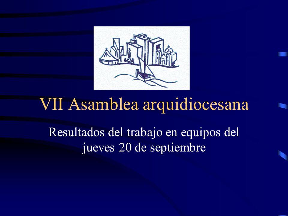 VII Asamblea arquidiocesana Resultados del trabajo en equipos del jueves 20 de septiembre