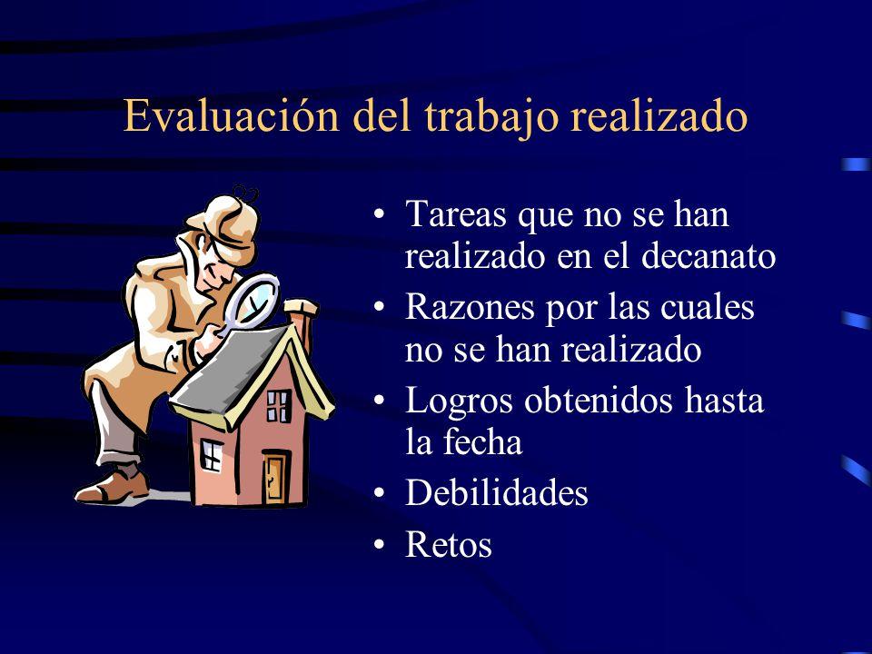 Evaluación del trabajo realizado Tareas que no se han realizado en el decanato Razones por las cuales no se han realizado Logros obtenidos hasta la fecha Debilidades Retos