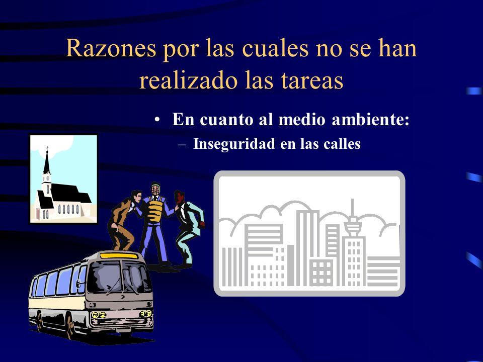 Razones por las cuales no se han realizado las tareas En cuanto al medio ambiente: –Inseguridad en las calles