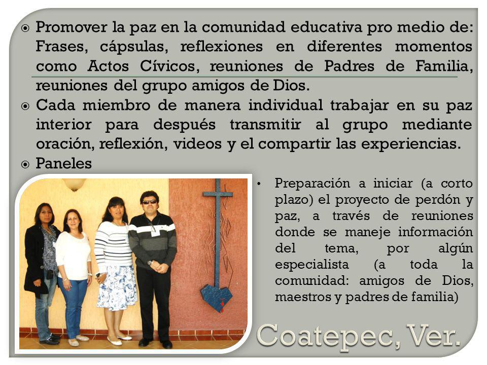 Promover la paz en la comunidad educativa pro medio de: Frases, cápsulas, reflexiones en diferentes momentos como Actos Cívicos, reuniones de Padres de Familia, reuniones del grupo amigos de Dios.