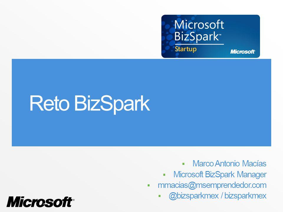 Reto BizSpark Marco Antonio Macías Microsoft BizSpark Manager mmacias@msemprendedor.com @bizsparkmex / bizsparkmex