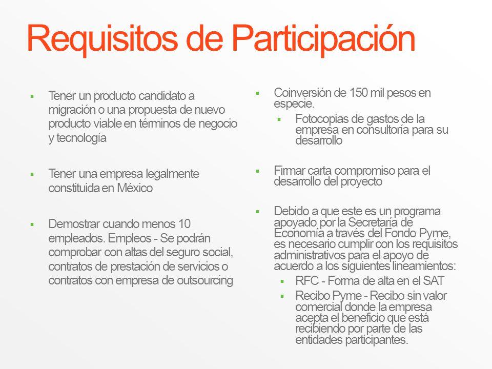 Requisitos de Participación Tener un producto candidato a migración o una propuesta de nuevo producto viable en términos de negocio y tecnología Tener
