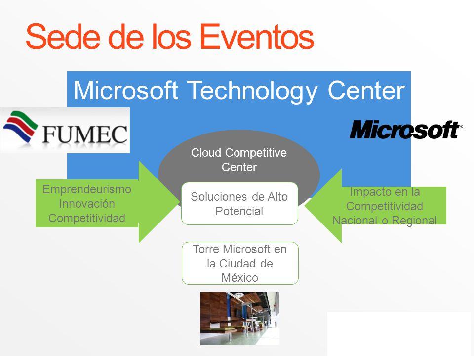 Microsoft Technology Center Cloud Competitive Center Sede de los Eventos Soluciones de Alto Potencial Emprendeurismo Innovación Competitividad Impacto