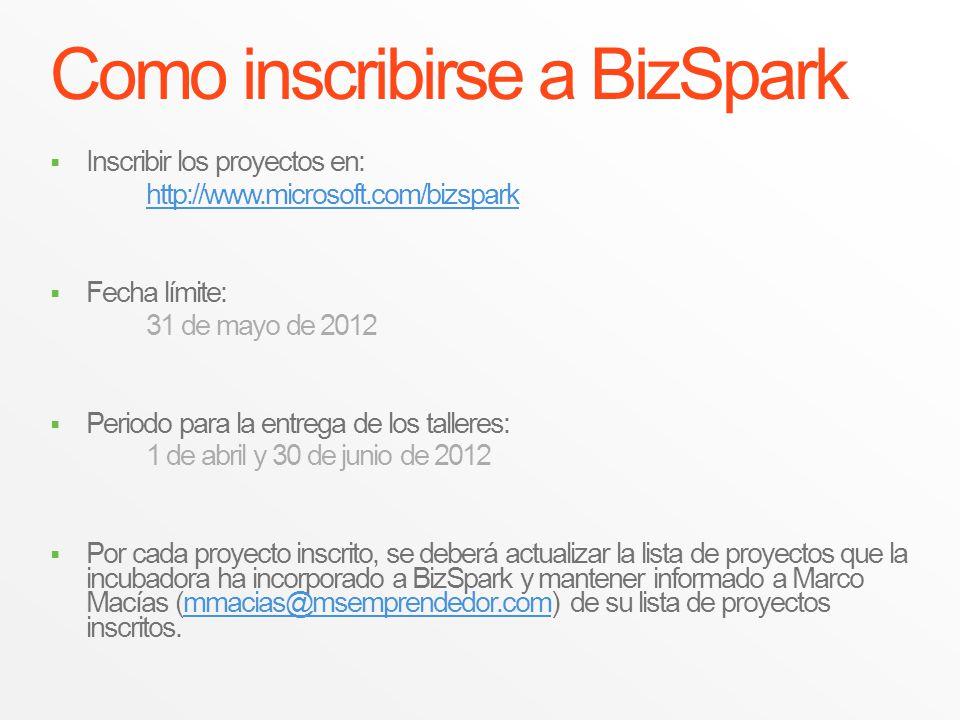 Como inscribirse a BizSpark Inscribir los proyectos en: http://www.microsoft.com/bizspark Fecha límite: 31 de mayo de 2012 Periodo para la entrega de