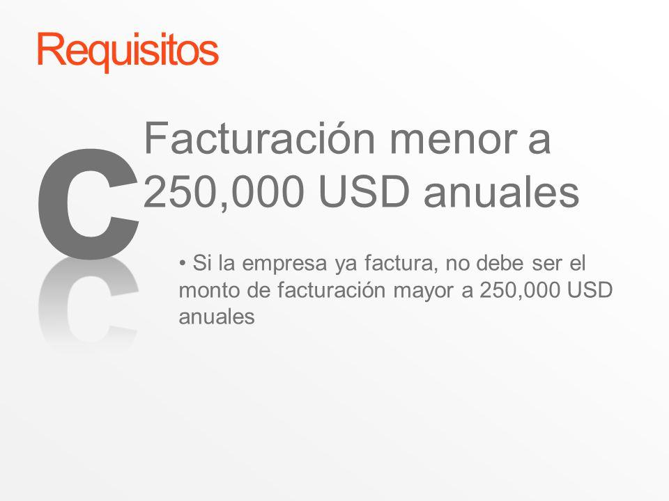 Requisitos Si la empresa ya factura, no debe ser el monto de facturación mayor a 250,000 USD anuales Facturación menor a 250,000 USD anuales