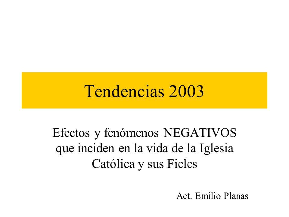 Tendencias 2003 Efectos y fenómenos NEGATIVOS que inciden en la vida de la Iglesia Católica y sus Fieles Act. Emilio Planas