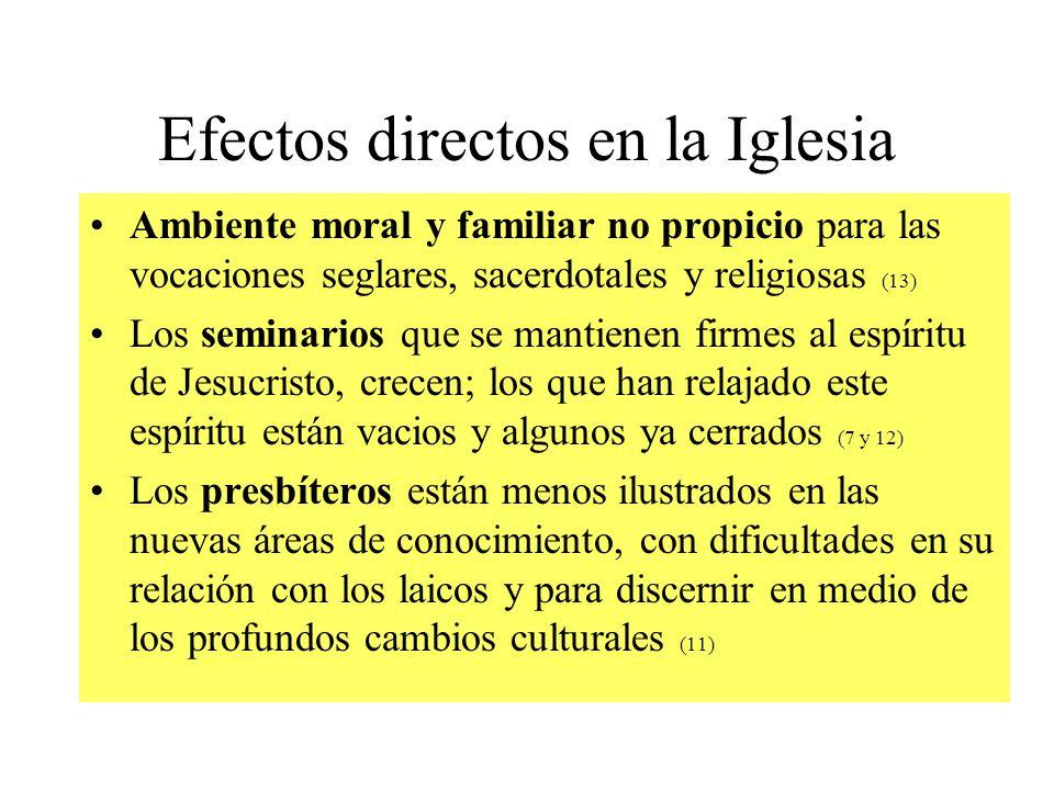 Efectos directos en la Iglesia Ambiente moral y familiar no propicio para las vocaciones seglares, sacerdotales y religiosas (13) Los seminarios que s
