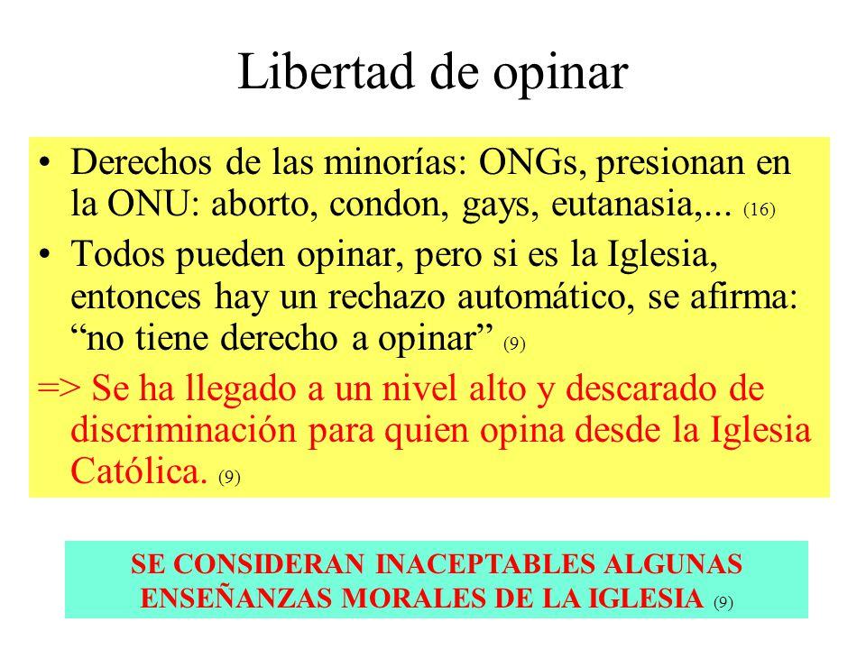 Libertad de opinar Derechos de las minorías: ONGs, presionan en la ONU: aborto, condon, gays, eutanasia,... (16) Todos pueden opinar, pero si es la Ig