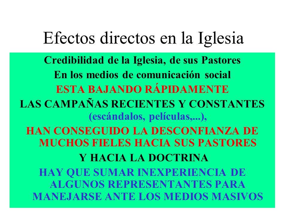 Efectos directos en la Iglesia Credibilidad de la Iglesia, de sus Pastores En los medios de comunicación social ESTA BAJANDO RÁPIDAMENTE LAS CAMPAÑAS RECIENTES Y CONSTANTES (escándalos, películas,...), HAN CONSEGUIDO LA DESCONFIANZA DE MUCHOS FIELES HACIA SUS PASTORES Y HACIA LA DOCTRINA HAY QUE SUMAR INEXPERIENCIA DE ALGUNOS REPRESENTANTES PARA MANEJARSE ANTE LOS MEDIOS MASIVOS