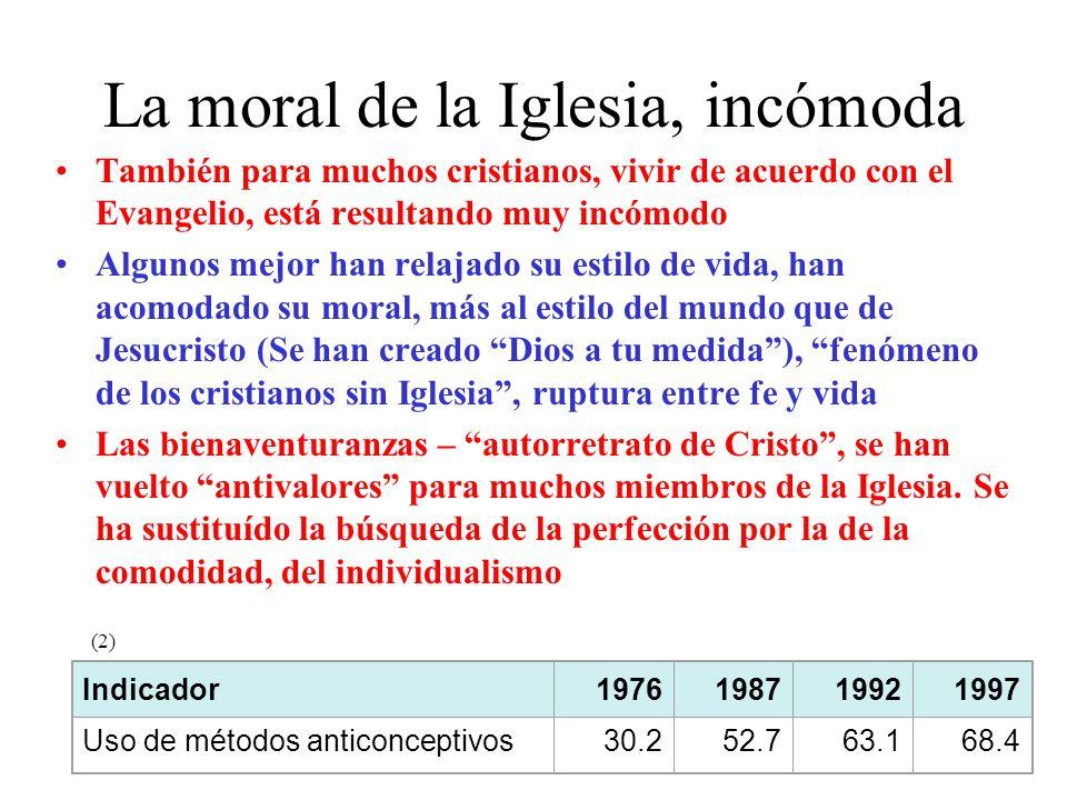 La moral de la Iglesia, incómoda También para muchos cristianos, vivir de acuerdo con el Evangelio, está resultando muy incómodo Algunos mejor han rel