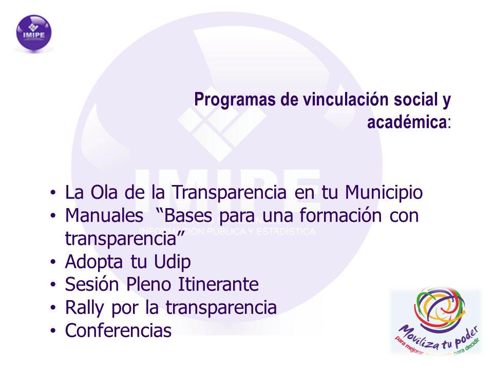 Programas de vinculación social y académica : La Ola de la Transparencia en tu Municipio Manuales Bases para una formación con transparencia Adopta tu