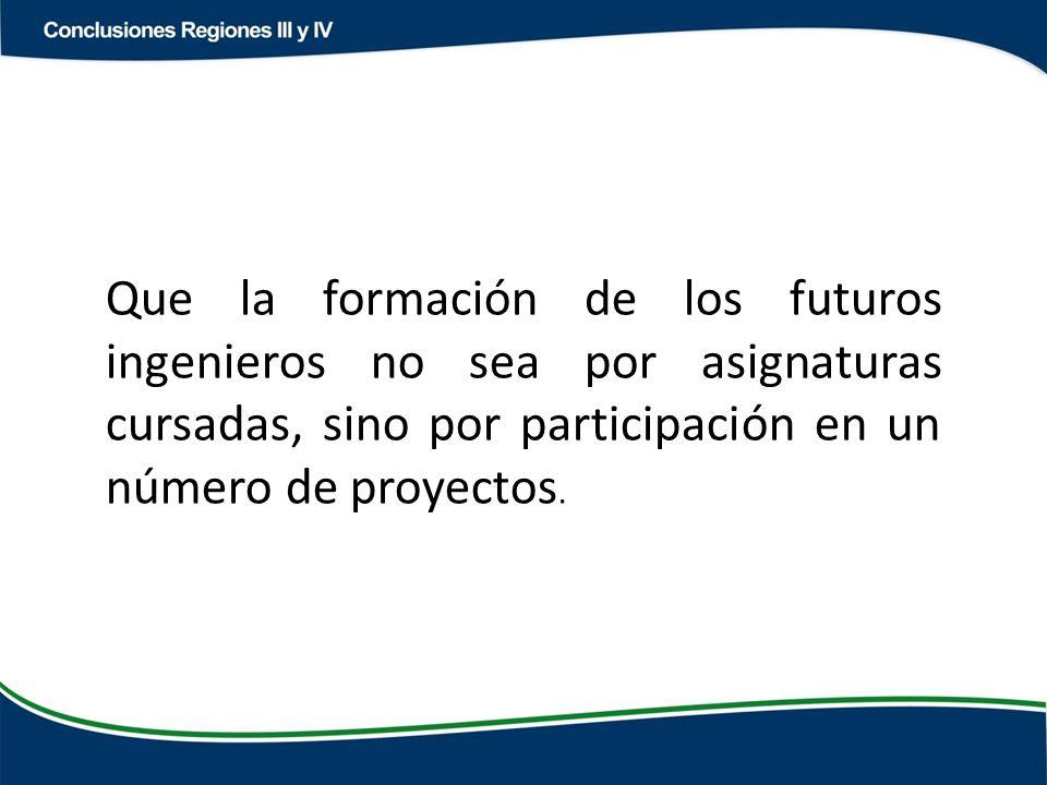 Que la formación de los futuros ingenieros no sea por asignaturas cursadas, sino por participación en un número de proyectos.