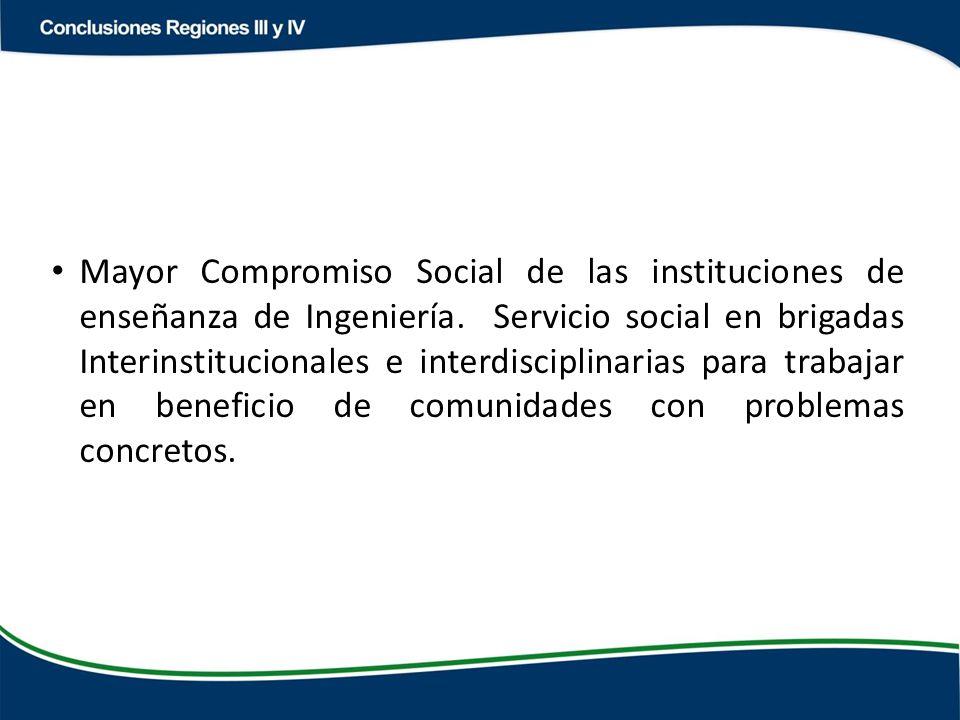 Mayor Compromiso Social de las instituciones de enseñanza de Ingeniería.