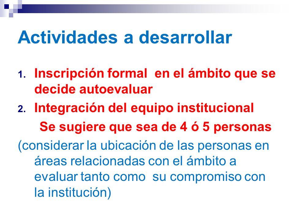 Actividades a desarrollar 1. Inscripción formal en el ámbito que se decide autoevaluar 2.