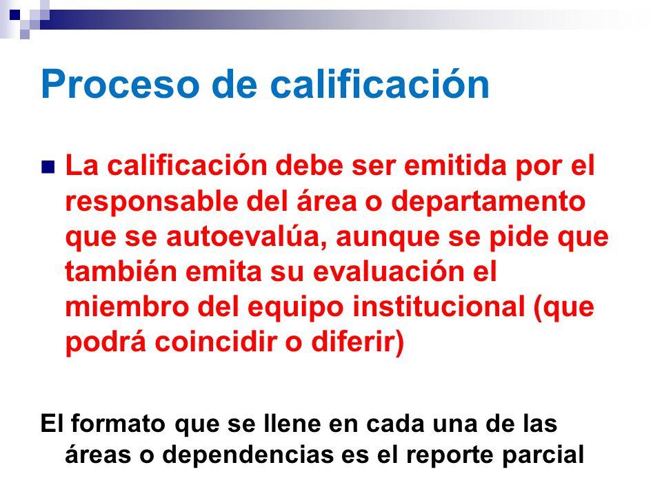 Proceso de calificación La calificación debe ser emitida por el responsable del área o departamento que se autoevalúa, aunque se pide que también emita su evaluación el miembro del equipo institucional (que podrá coincidir o diferir) El formato que se llene en cada una de las áreas o dependencias es el reporte parcial