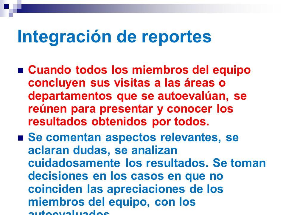 Integración de reportes Cuando todos los miembros del equipo concluyen sus visitas a las áreas o departamentos que se autoevalúan, se reúnen para presentar y conocer los resultados obtenidos por todos.