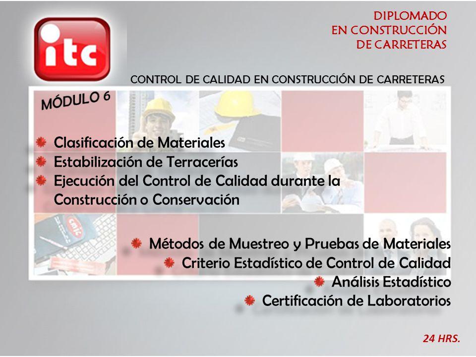 DIPLOMADO EN CONSTRUCCIÓN DE CARRETERAS 24 HRS. CONTROL DE CALIDAD EN CONSTRUCCIÓN DE CARRETERAS Clasificación de Materiales Estabilización de Terrace