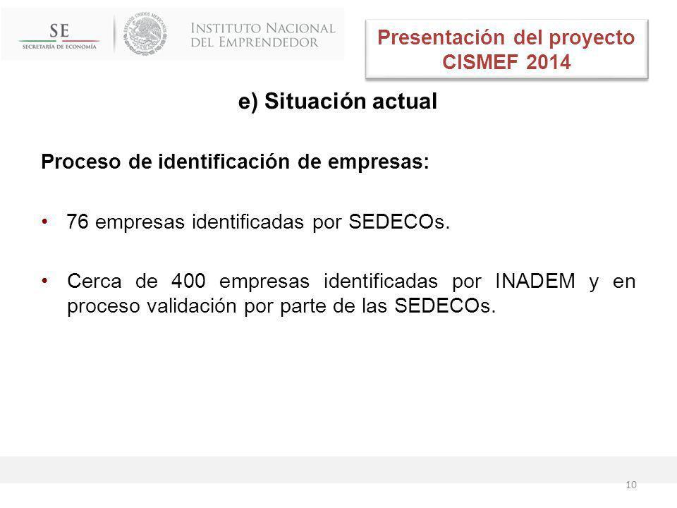 e) Situación actual Proceso de identificación de empresas: 76 empresas identificadas por SEDECOs.