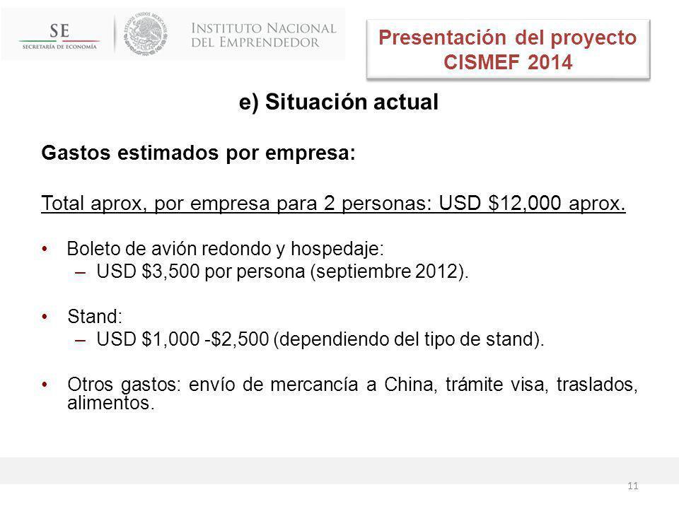 e) Situación actual Gastos estimados por empresa: Total aprox, por empresa para 2 personas: USD $12,000 aprox.