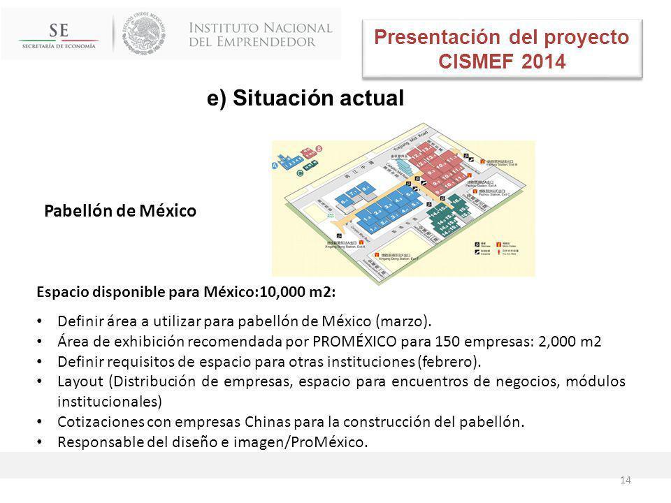 Espacio disponible para México:10,000 m2: Definir área a utilizar para pabellón de México (marzo).