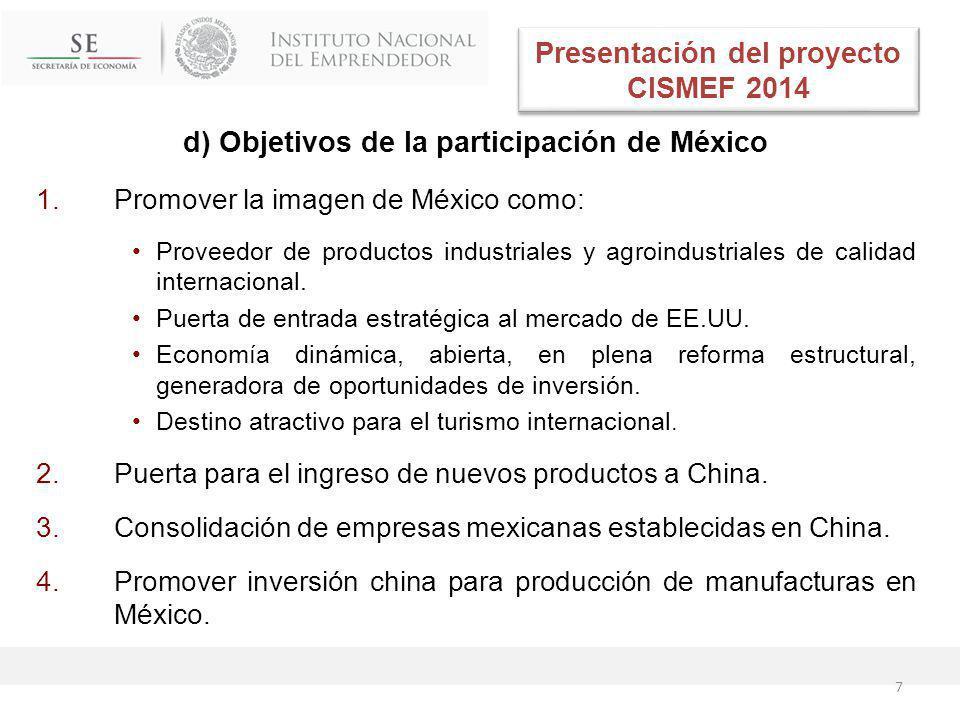 d) Objetivos de la participación de México 1.Promover la imagen de México como: Proveedor de productos industriales y agroindustriales de calidad internacional.