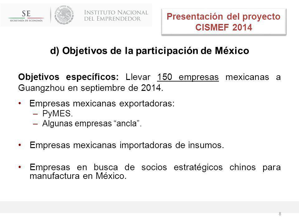 d) Objetivos de la participación de México Objetivos específicos: Llevar 150 empresas mexicanas a Guangzhou en septiembre de 2014.